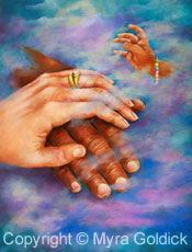 Reaching for Love - Oil Painting by Myra Goldick