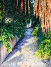 A Stroll through Paradise - Oil Painting by Myra Goldick