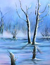 Ice - Acrylic Oil Painting by Myra Goldick