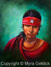 Eyes of India - Acrylic Painting by Myra Goldick