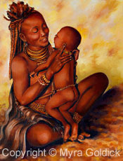 A Mothers Love - Oil Painting by Myra Goldick